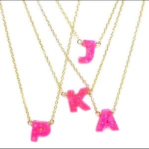 Opalescent Resin Initial Necklaces,NWT